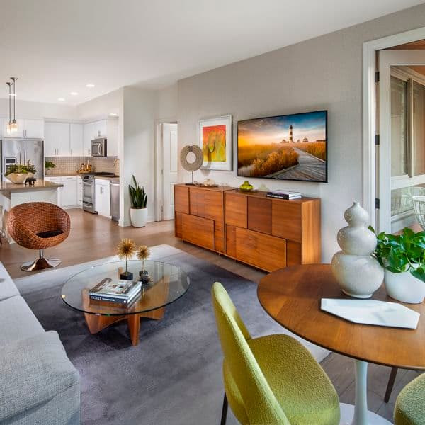 Interior view of living room at Malibu - Villas Playa Vista Apartment Homes in Los Angeles, CA.