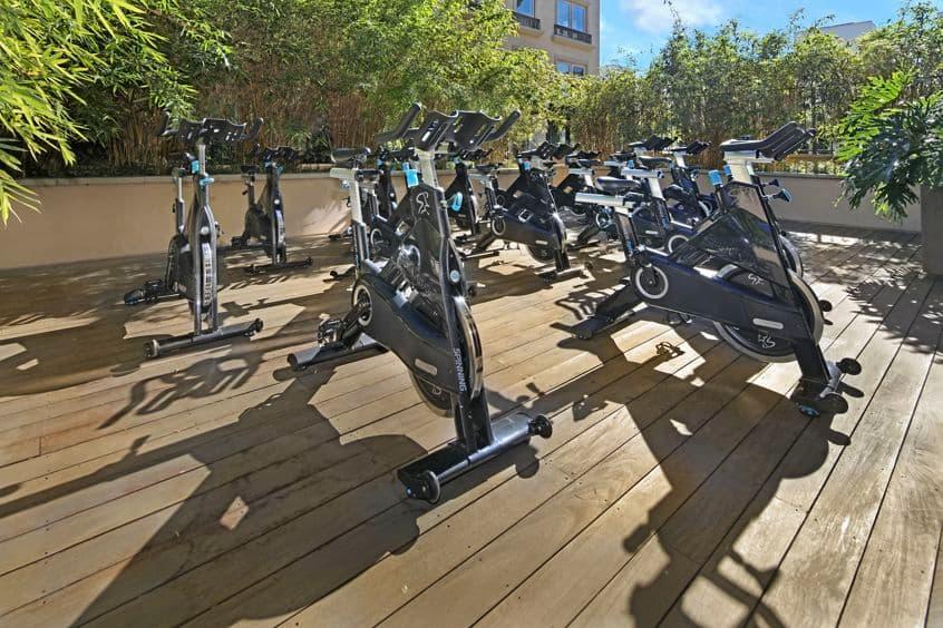 Exterior view of fitness center at Malibu - Villas Playa Vista Apartment Homes in Los Angeles, CA.
