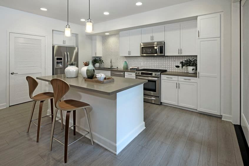 Interior view of kitchen at Malibu - Villas Playa Vista Apartment Homes in Los Angeles, CA.