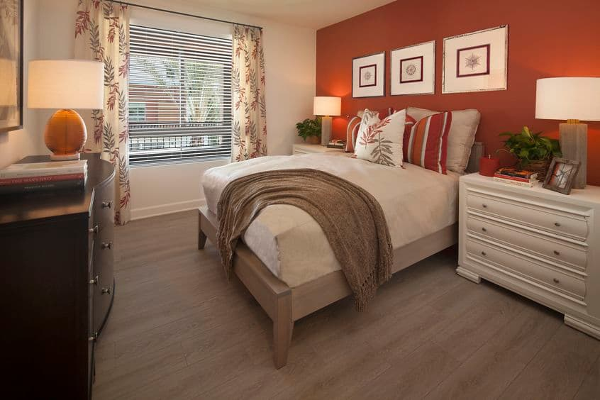 Interior view of bedroom at Malibu - Villas Playa Vista Apartment Homes in Los Angeles, CA.