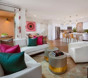 Interior view of living room at Montecito - Villas at Playa Vista Apartment Homes in Los Angeles, CA.
