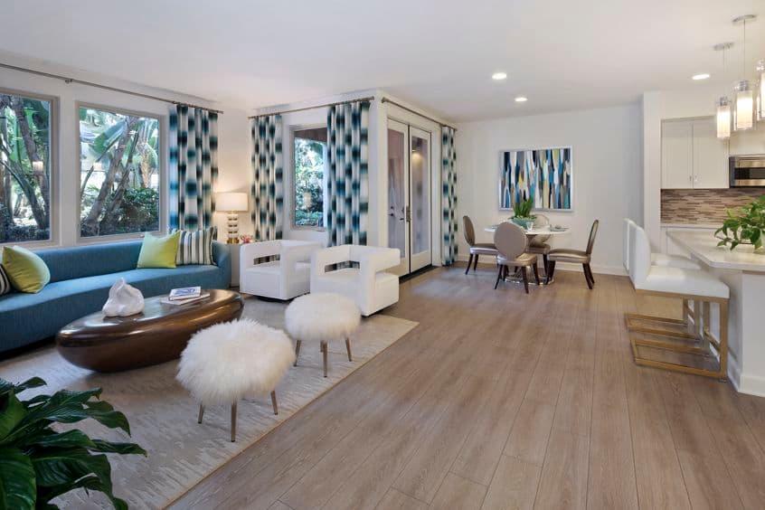 Interior view of living and dining areas at Montecito - Villas at Playa Vista Apartment Homes in Los Angeles, CA.