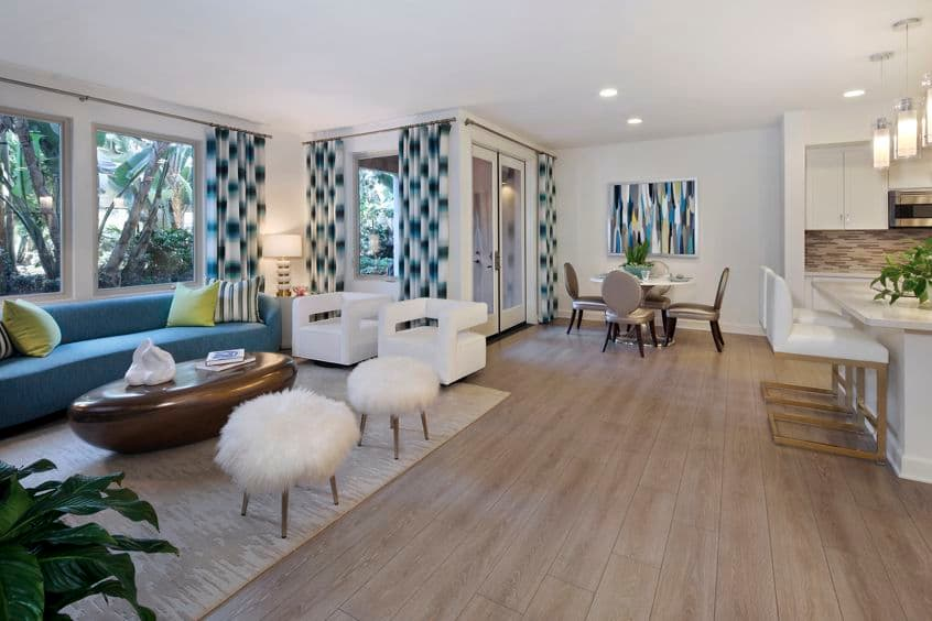 Interior view of living and dining areas at Montecito - Villas at Playa Vista Apartment Homes in Los Angeles, CA.