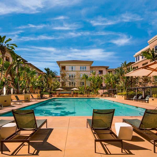 Exterior view of pool at Sausalito - Villas at Playa Vista Apartment Homes in Los Angeles, CA.