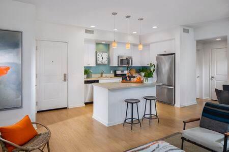 Interior view of kitchen at Sausalito - Villas at Playa Vista Apartment Homes in Los Angeles, CA.