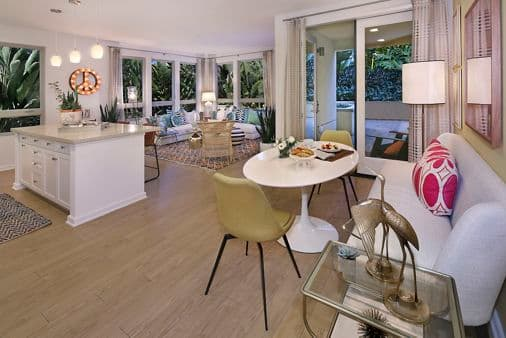 Interior view of living room in Plan 36 at Sausalito - Villas at Playa Vista Apartment Homes in Los Angeles, CA.