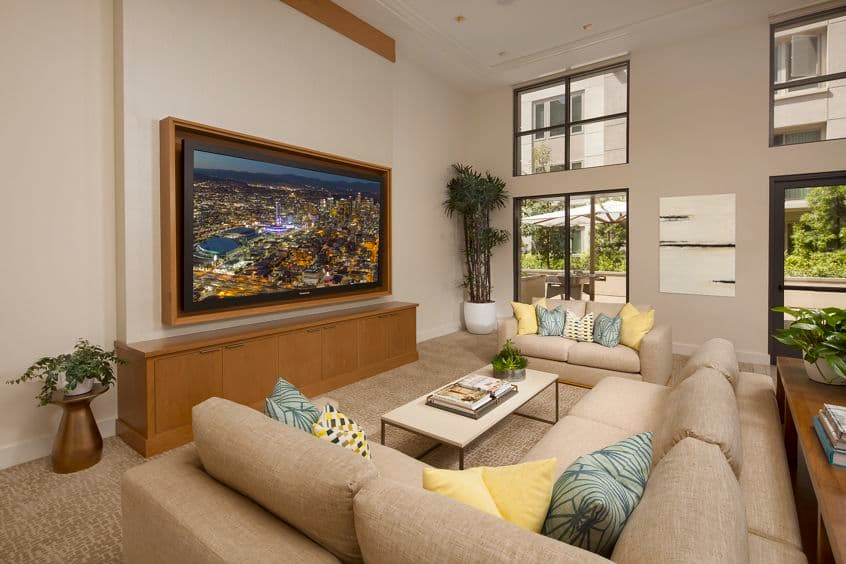 Interior view of clubhouse at Sausalito - Villas at Playa Vista Apartment Homes in Los Angeles, CA.