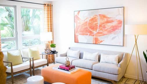 Interior view of a living room at Sausalito at Villas Playa Vista Apartment Homes in Los Angeles, CA.