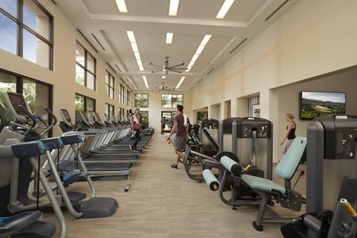 Interior view of fitness center at Sausalito - Villas at Playa Vista Apartment Homes in Playa Vista, CA.