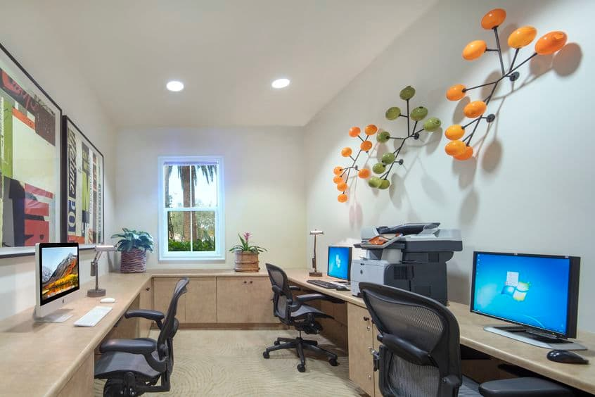 Interior view of business center at Cherry Orchard Apartment Homes in Sunnyvale, CA.