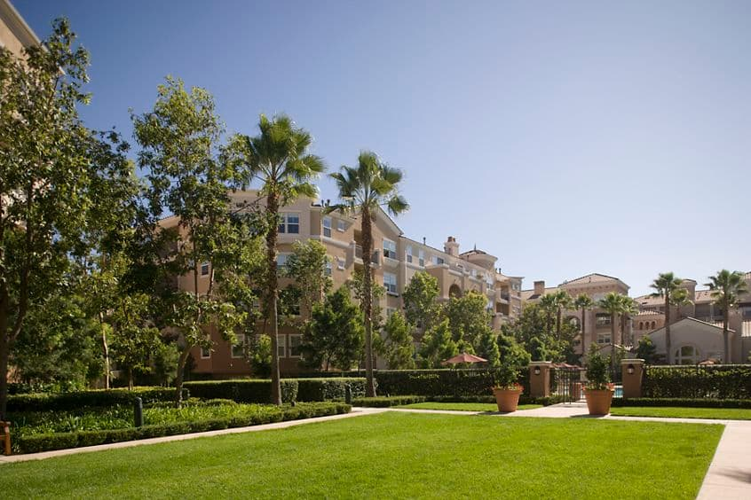 Exterior view of Cherry Orchard Apartment Homes in Sunnyvale, CA.