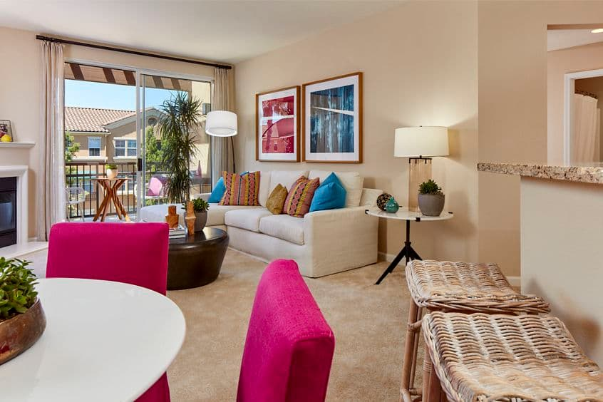Interior view living room and dining room at Cherry Orchard Apartment Homes in Sunnyvale, CA.
