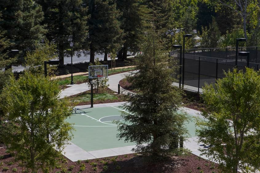 Detail view of a basketball court at River Oaks Park at Crescent Village Apartment Homes in San Jose, CA.