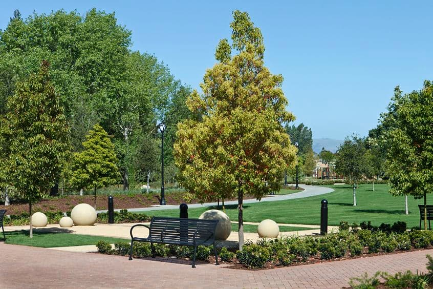 General view of River Oaks Park at Crescent Village Apartment Homes in San Jose, CA.