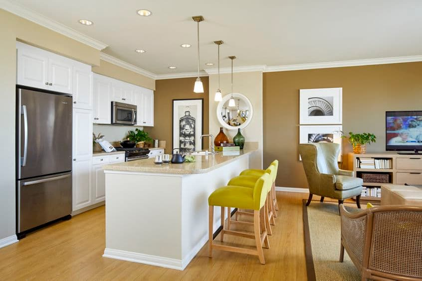 Interior view of Kitchen at Crescent Village Apartment Homes in San Jose, CA.