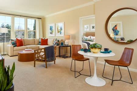 Interior view of Living Room and Dining Room at Crescent Village Apartment Homes in San Jose, CA.