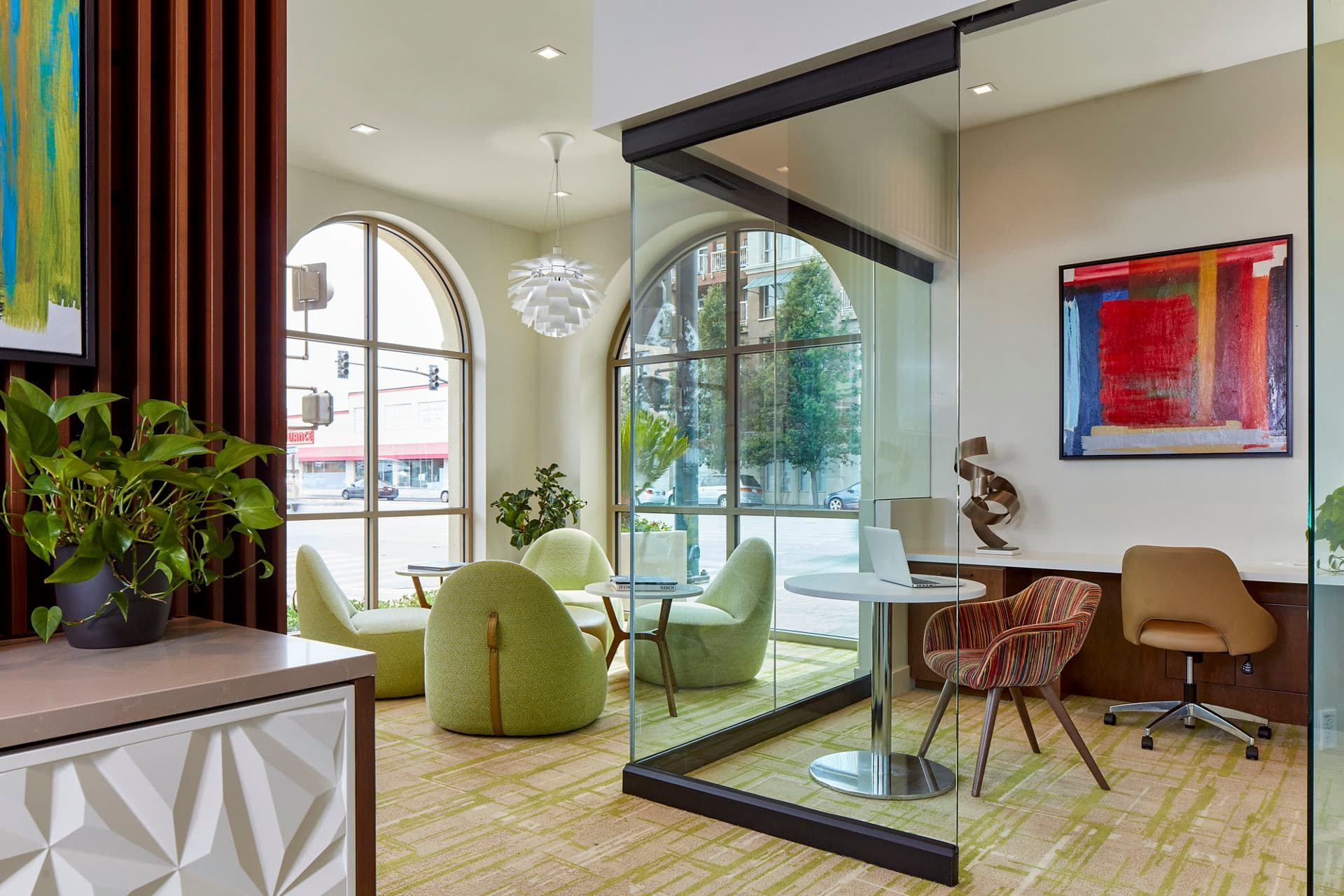 Interior view of business center at Franklin Street Apartment Homes in Redwood City, CA.