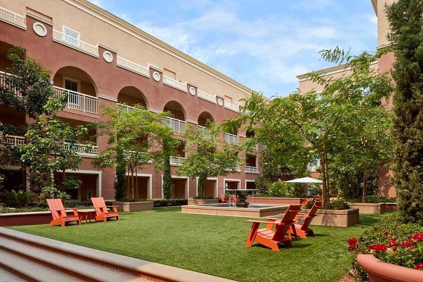 Interior view of courtyard at Franklin Street Apartment Homes in Redwood City, CA.