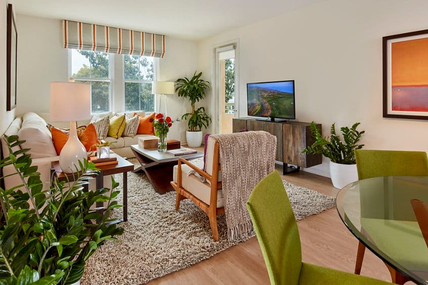Interior view of living room at Franklin Street Apartment Homes in Redwood City, CA.