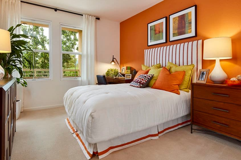 Interior view of bedroom at Franklin Street Apartment Homes in Redwood City, CA.