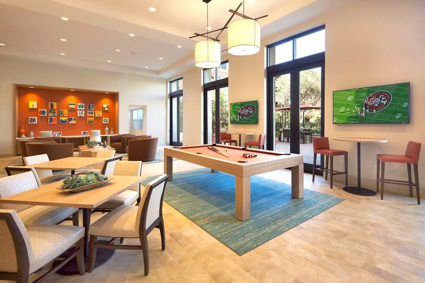 Interior view of the clubhouse at Monticello Apartment Homes in Santa Clara, CA.