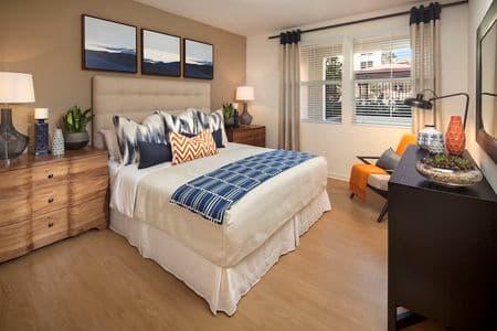 Interior view of a bedroom at Monticello Apartment Homes in Santa Clara, CA.