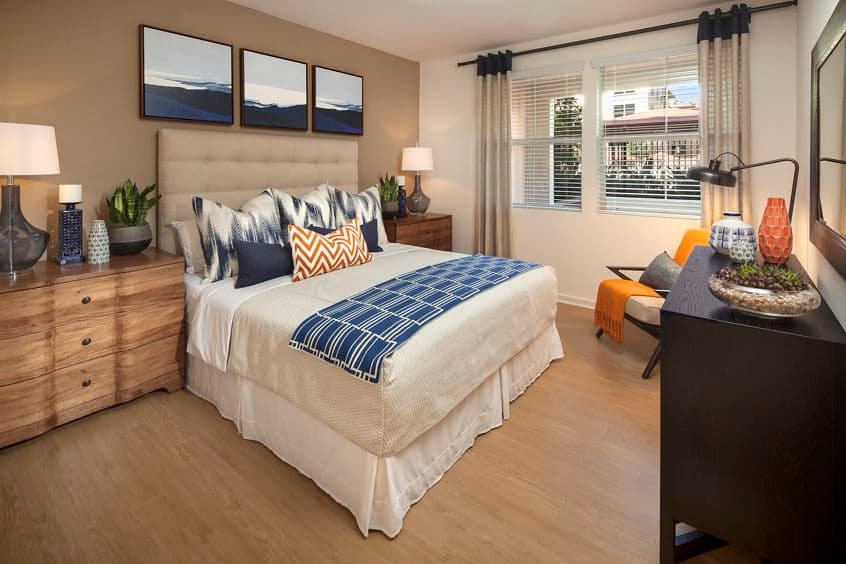 Interior view of a bedroom at Monticello Apartment Homes in Santa Clara, CA.