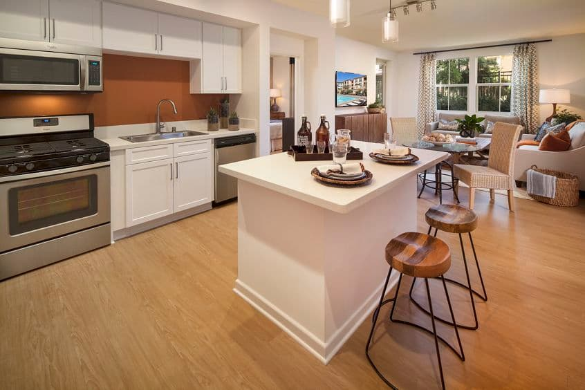 Interior view of a kitchen at Monticello Apartment Homes in Santa Clara, CA.
