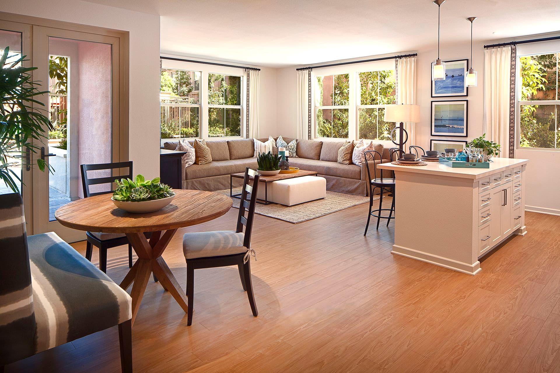 Interior view of a living room at Monticello Apartment Homes in Santa Clara, CA.