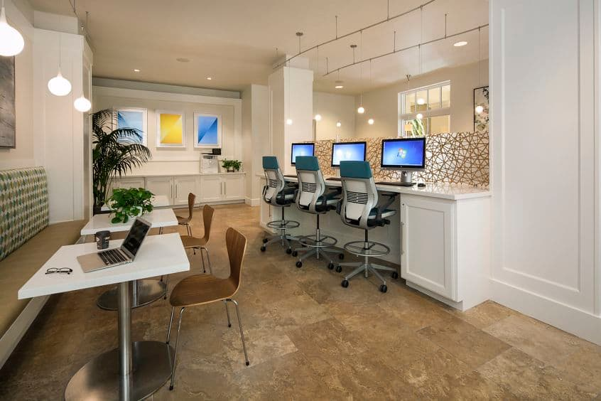 Interior view of the business center at North Park Apartment Homes in San Jose, CA.