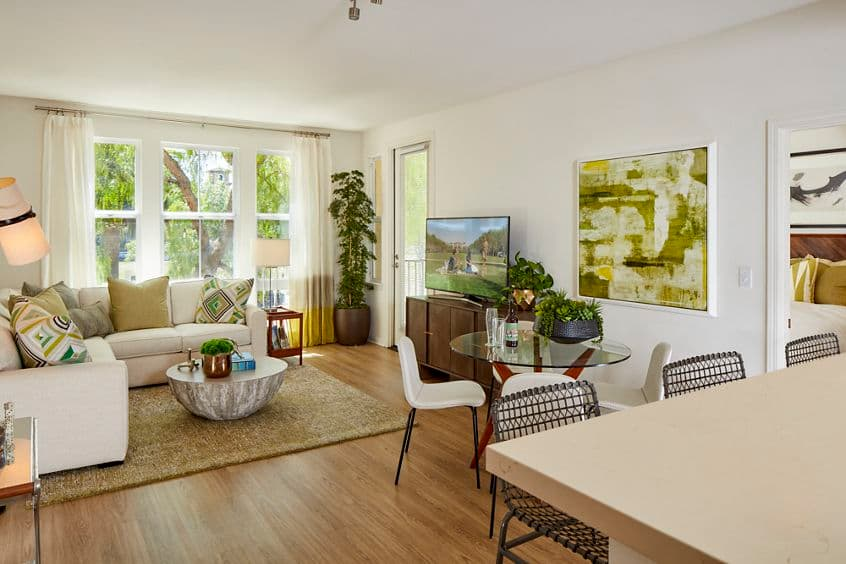 Interior view of living room at The Oaks at North Park Apartment Communities in Santa Clara, CA.