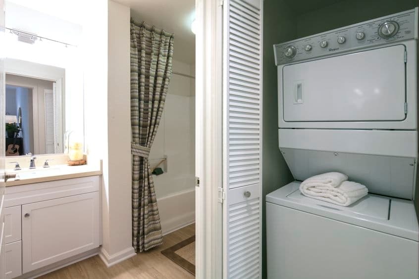 Interior view of a bathroom at The Oaks at North Park Apartment Homes in San Jose, CA.