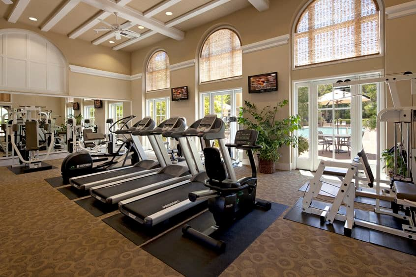 Interior view of the Fitness Center at The Oaks at North Park Apartment Homes in San Jose, CA.