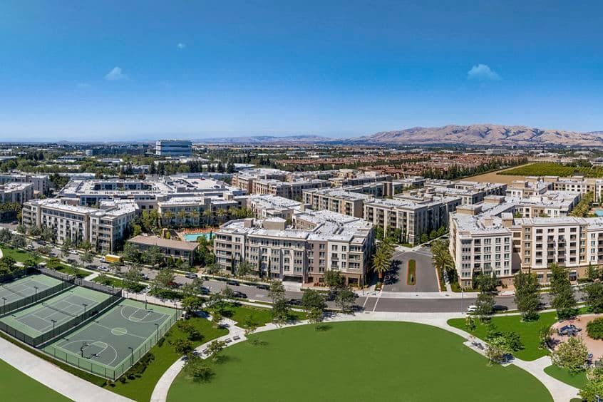 Aerial Photo of River View Apartment Homes in San Jose, CA.