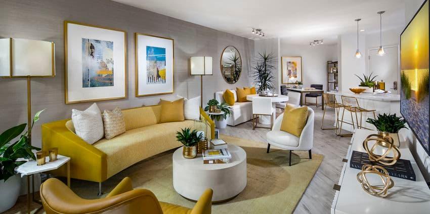 Interior view of a living room at Santa Clara Square Apartment Homes in Santa Clara, CA.