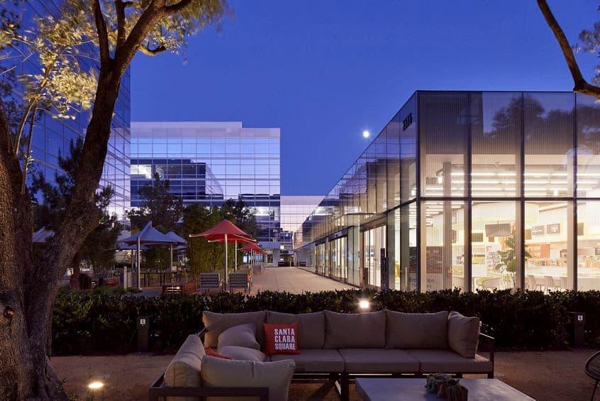 Exterior view of Irvine Company Office Properties in Santa Clara, CA.