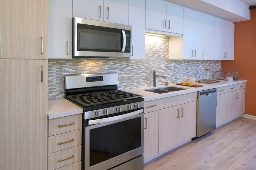 Interior view of a kitchen at Santa Clara Square Apartment Homes in Santa Clara, CA.