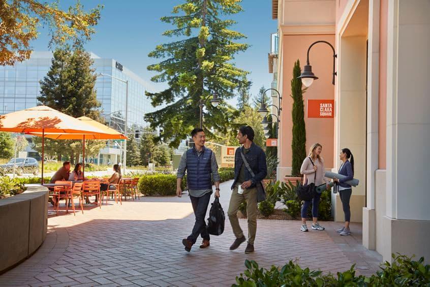 Exterior view of on-site retail at Santa Clara Apartment Homes in Santa Clara, CA.