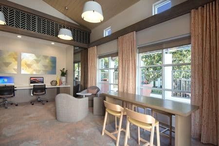 Interior view of the i-lounge at The Hamptons Apartment Homes in Cupertino, CA.