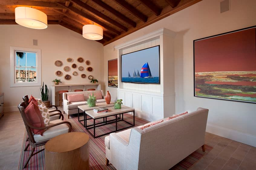 Interior view of the clubhouse at The Villas at Bair Island Apartment Homes in Redwood City, CA.