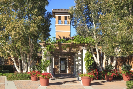 General view of building exterior at The Villas at Bair Island Apartment Homes in Redwood City, CA.
