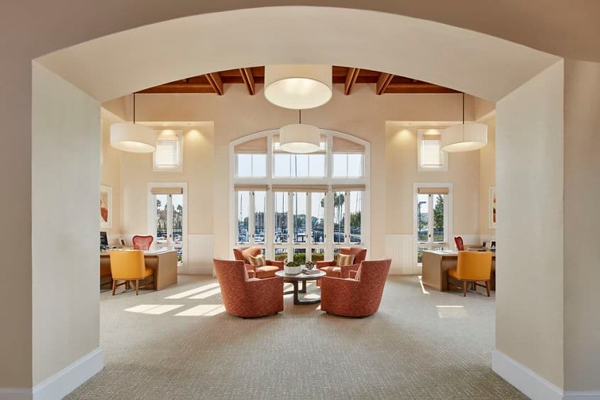 Interior view of leasing office at The Villas at Bair Island Apartment Homes in Redwood City, CA.