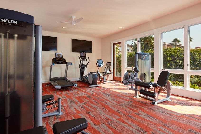 Interior view of fitness center at The Villas at Bair Island Apartment Homes in Redwood City, CA.