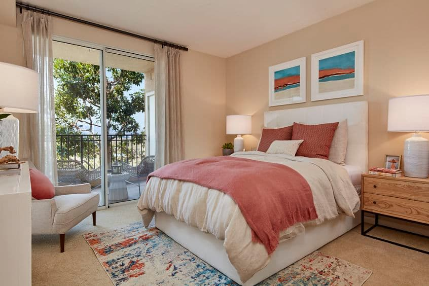 Interior view of bedroom at The Villas at Bair Island Apartment Homes in Redwood City, CA.