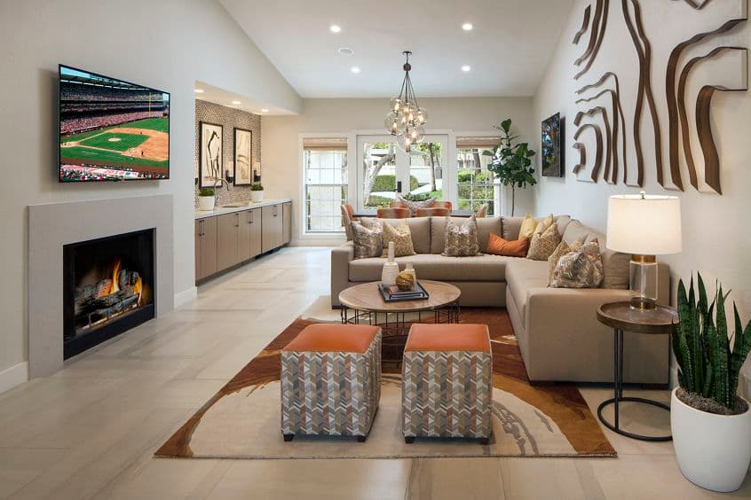 Interior view of clubhouse at Aliso Town Center Apartment Homes in Aliso Viejo, CA.