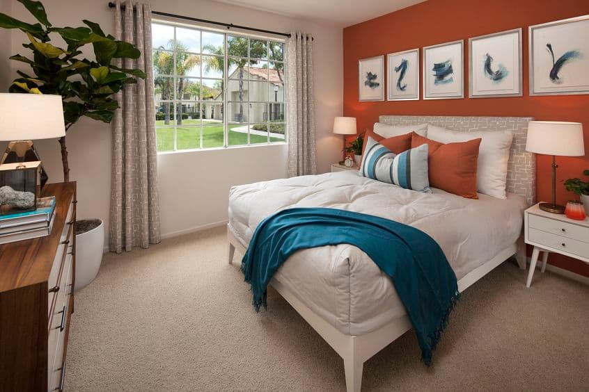 Interior view of bedroom at Aliso Town Center Apartment Homes in Aliso Viejo, CA.