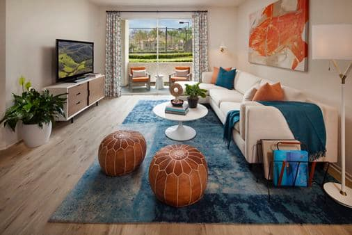 Interior view of living room at Aliso Town Center Apartment Homes in Aliso Viejo, CA.