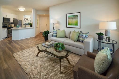 Interior view of a living room at Vista Bella Apartment Homes in Aliso Viejo, CA.