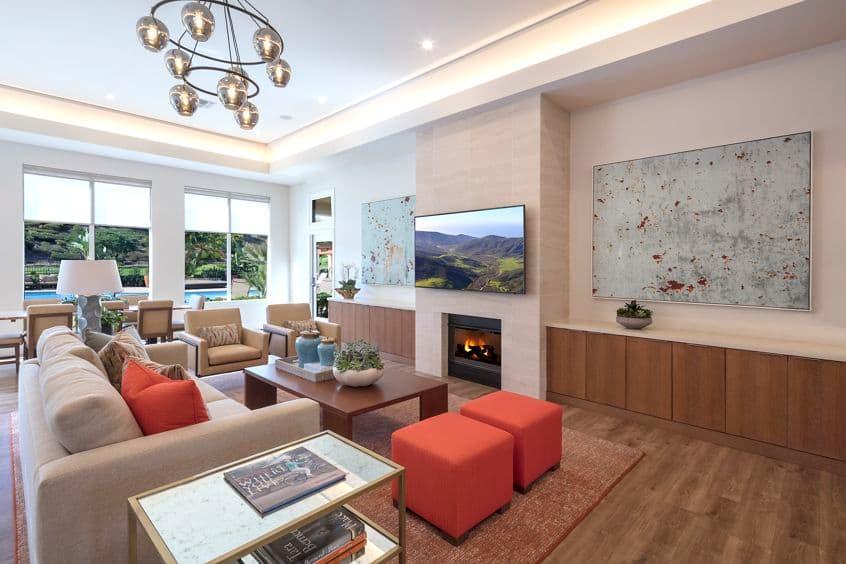 Interior view of clubhouse at Vista Bella Apartment Homes in Aliso Viejo, CA.