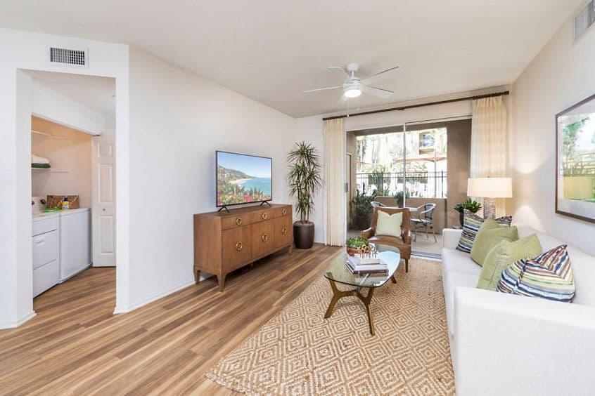 Interior view of living room at Vista Bella Apartment Homes in Aliso Viejo, CA.